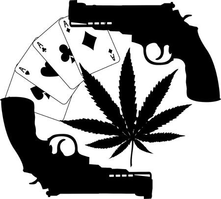ganja: silhouettes de cartes, de chanvre et de deux pistolets. illustration vectorielle Illustration