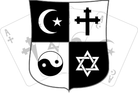 religious symbols: stencil of shield and religious symbols. vector illustration Illustration