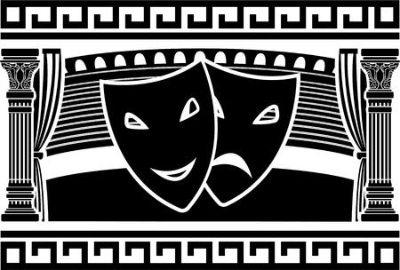 teatro antiguo: antiguo teatro griego. Galer�a de s�mbolos. ilustraci�n vectorial