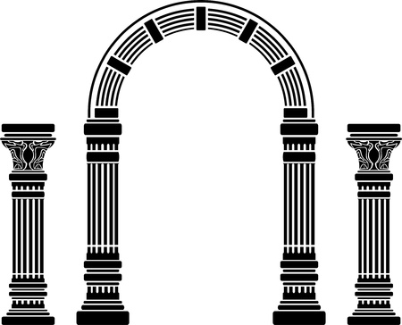 variant: fantasy arch and columns. stencil. fourth variant