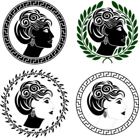 diosa griega: conjunto de perfiles de mujer romana. galerías de símbolos. ilustración vectorial