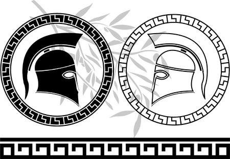 spartano: caschi ellenica e ramo d'ulivo. stencil. illustrazione vettoriale