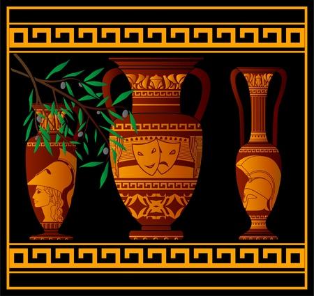 teatro antiguo: �nforas griegas antiguas y jarra. ilustraci�n vectorial