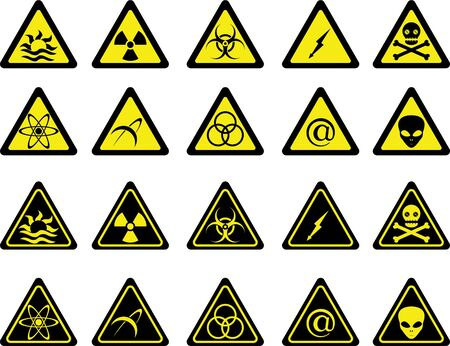 nuclear safety: set of warning signs.   Illustration