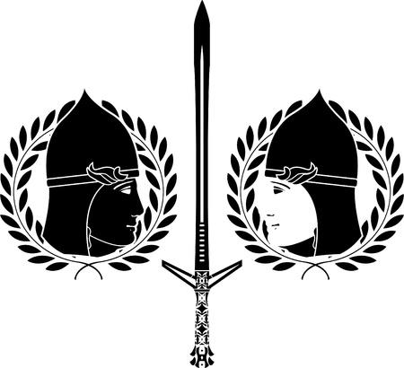 slavonic: slavonic warrior. stencil.  Illustration