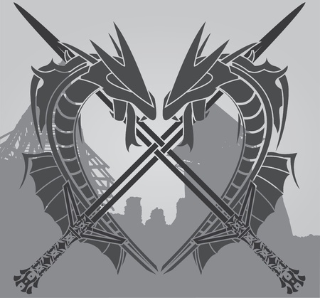 dragons and swords. vector illustration Vector