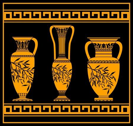 vasi greci: brocche elleniche. illustrazione vettoriale per la progettazione Vettoriali