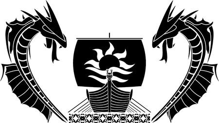 ship and dragons. vector illustration Stock Vector - 9720506