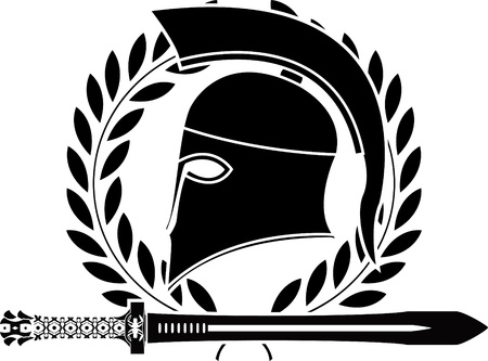 fantasy hellenic sword and helmet. stencil. vector illustration Stock Vector - 9781810