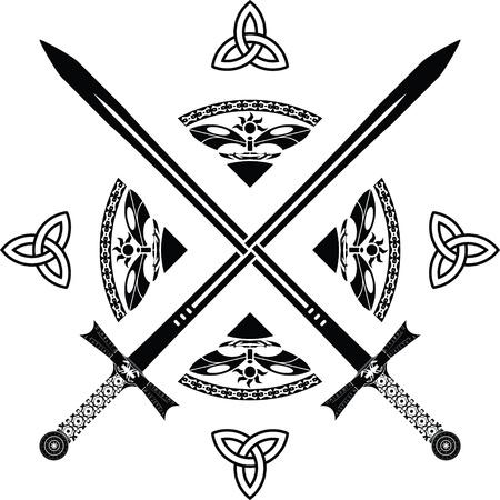 fifth: fantasy swords. fifth variant. vector illustration