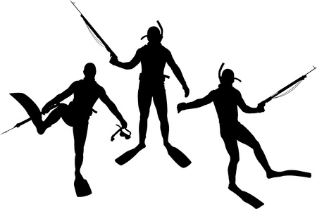 harpoon: set of diver silhouettes. vector illustration Illustration