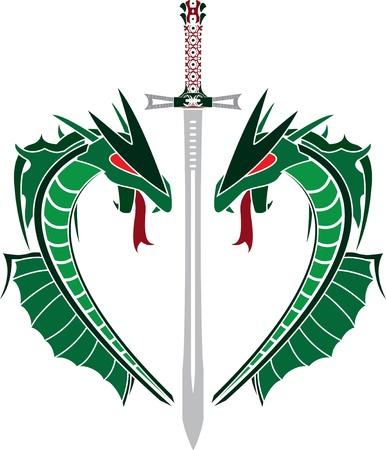 runes: dragons verts et de l'�p�e. pochoir. illustration vectorielle Illustration
