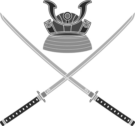 kendo: japanese helmet and swords. stencil. vector illustration Illustration