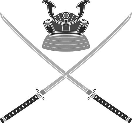 samurai sword: japanese helmet and swords. stencil. vector illustration Illustration