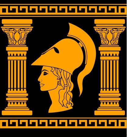 diosa griega: memoria de Atenea. ilustración vectorial