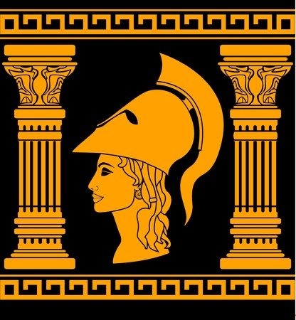 past civilizations: memory of Athena. vector illustration