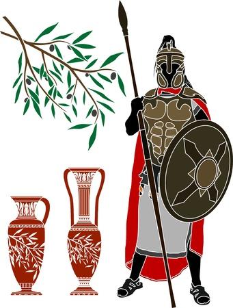 vasi greci: antico guerriero ellenica e brocche. stencil  Vettoriali