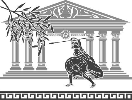 templo griego: antiguo Guerrero y la rama de olivo. Galería de símbolos.