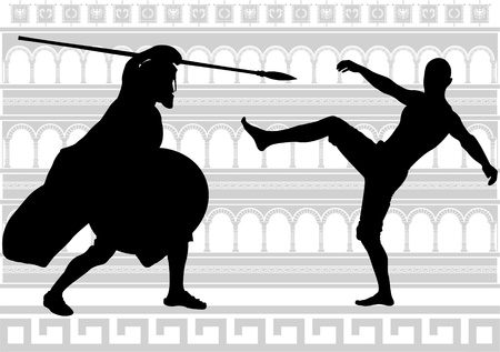 spear: silhouettes of gladiators.