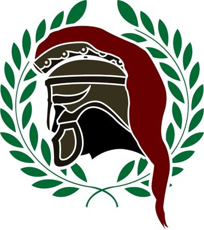 ancient civilization: ancient helmet and wreath. stencil.