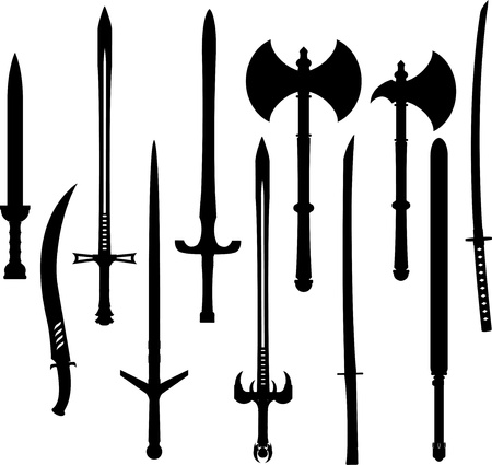 dangerous weapons: set of swords and axes silhouettes.