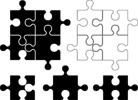 puzzle pieces. stencil Vector