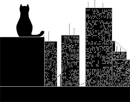 homelessness: big city cat. stencil. vector illustration Illustration