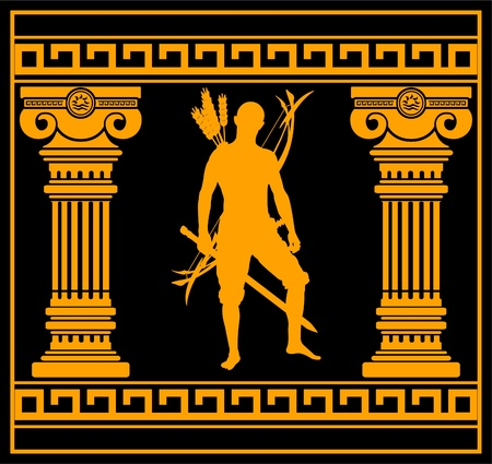swordsman: fantasy warrior with columns. first variant. vector illustration Illustration