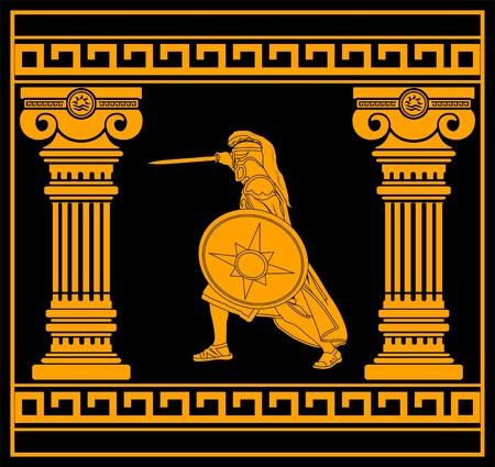 arte greca: guerriero di fantasia con colonne. quarta variante. illustrazione vettoriale