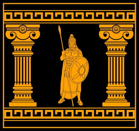 greek gods: fantasy warrior with columns. second variant. vector illustration
