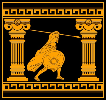 hellenic: fantasy warrior with columns. third variant. vector illustration