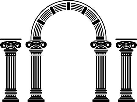 colonna romana: arco di fantasia e colonne. stencil. quinta variante. Vettoriali
