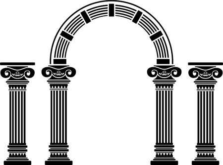 roman column: fantasy arch and columns. stencil. fifth variant.