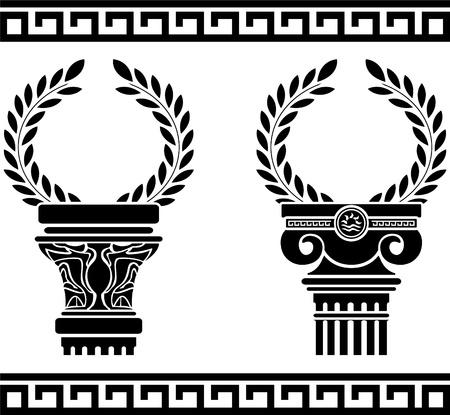 Griekse zuilen met kransen. stencil.