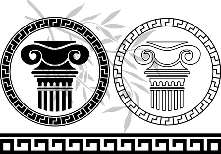 corinthian column: hellenic columns and olive branch. stencil.