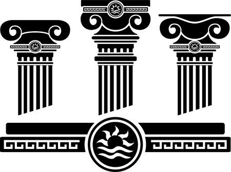 colonna romana: colonne ioniche e pattern. stencil.
