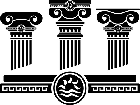 ancient roman: ionic columns and pattern. stencil.