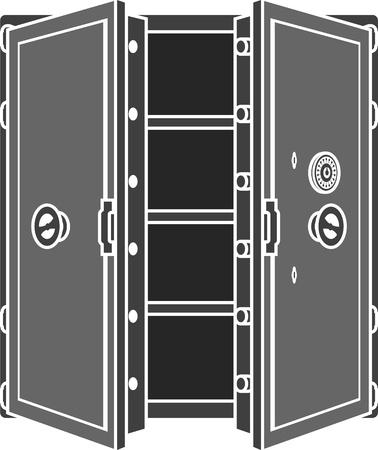 bank vault: stencil of safe. Illustration