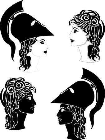 greek woman profiles.  Vector