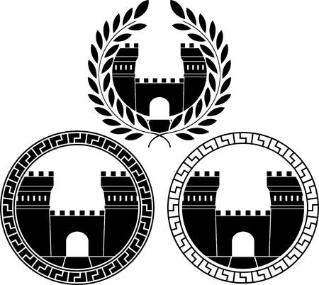 set of castle gates. Vector