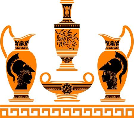 earthenware: conjunto de vasos hel�nicas. galer�as de s�mbolos.