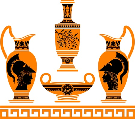 roman mythology: set of hellenic vases. stencils.