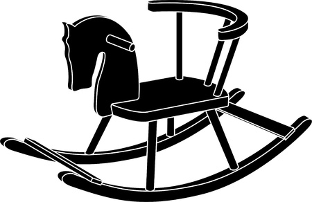 wood craft: rocking horse toy. stencil. vector illustration Illustration