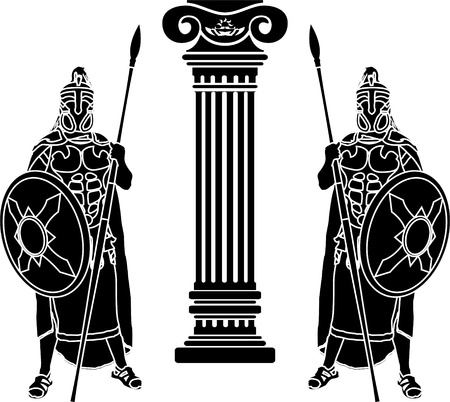 hellenic: two hoplits and column. stencil. vector illustration Illustration