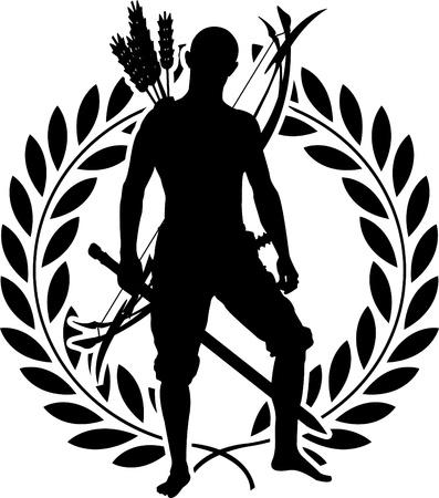 sword silhouette: fantasy warrior with laurel wreath.
