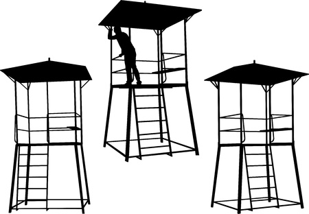 silhouettes of watchtowers.  Illustration