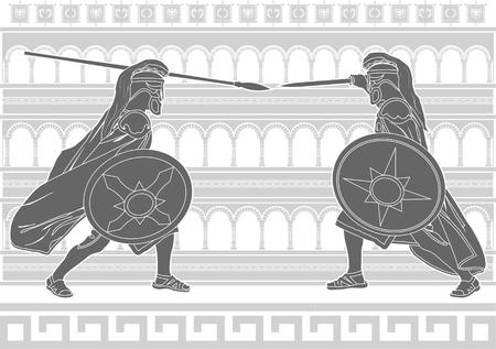 colosseo: due gladiatori. stencil. Vettoriali
