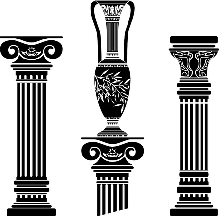 arte greca: stencil di colonne e brocca ellenica. quarta variante.  Vettoriali