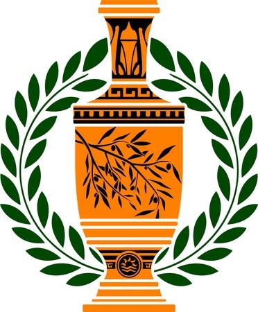 antigua grecia: vaso griego con corona de laurel. Vectores