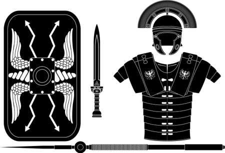 roman empire: roman armor. stencil.